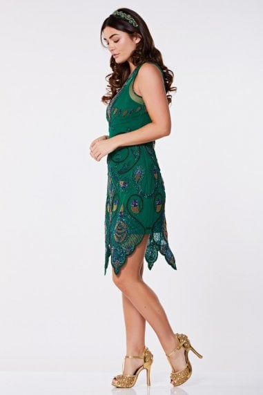 Emma Flapper Dress in Green