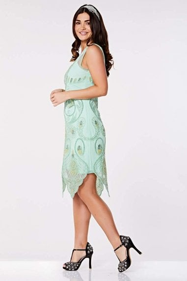 Emma Flapper Dress in Mint