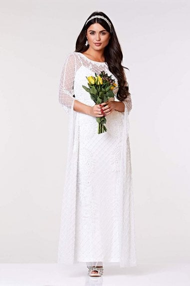 Eugine Long Sleeved Maxi Wedding Dress in White