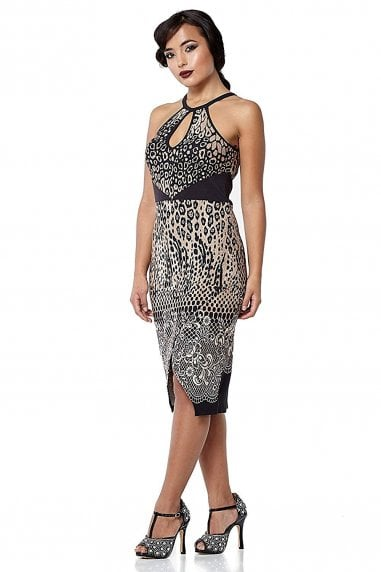 Faith Leopard Print Black Brown Bohemian Halter Neck Bodycon Dress