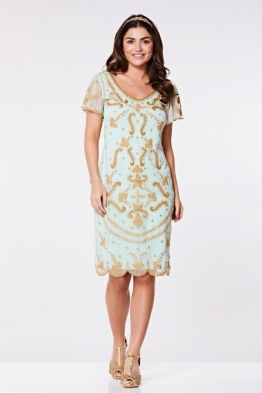 Florence Flapper Dress in Mint