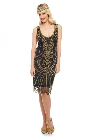 Francesca Flapper Dress in Black Gold
