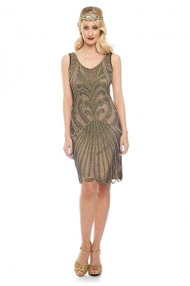 Francesca Flapper Dress in Nude Black