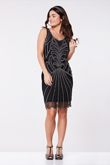 Francesca Flapper Dress in Black Silver