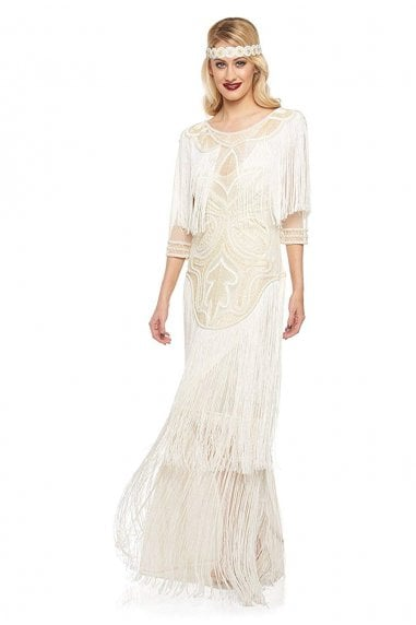 Glam Fringe Flapper Maxi Dress in Cream