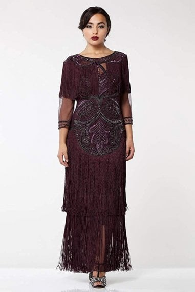 Glam Fringe Flapper Maxi Dress in Plum