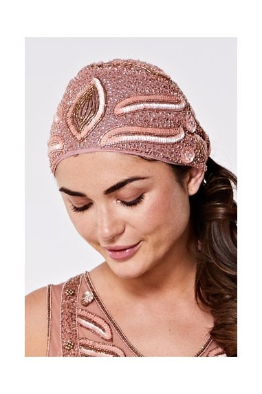 Hollywood Flapper Turban in Rose