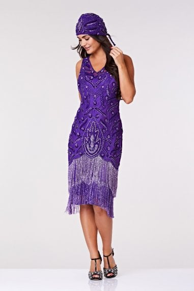 Hollywood Fringe Flapper Dress in Purple