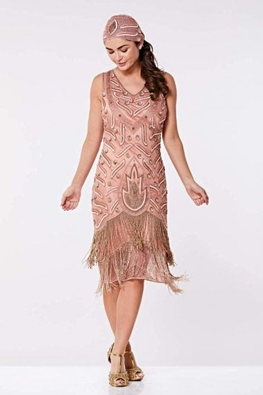 Hollywood Fringe Flapper Dress in Rose