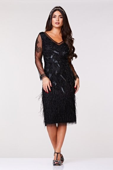 Ivy Midi Feather Dress in Black