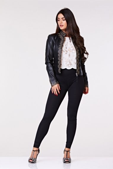 Lilah Handcrafted Embroidered Genuine Leather Jacket
