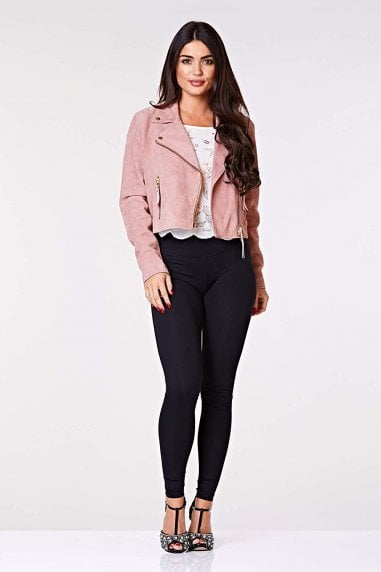 Madison Handcrafted Genuine Suede Leather Biker Jacket in Rose