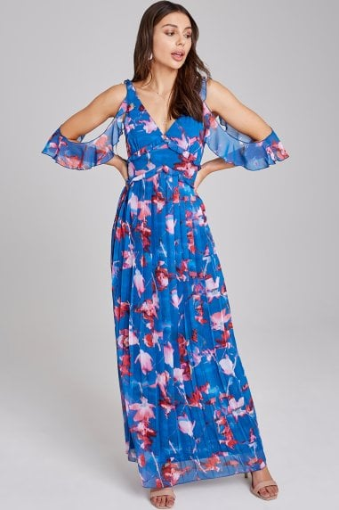 Mattie Floral-Print Cold-Shoulder Maxi Dress