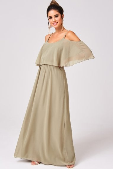 Motion Khaki Chiffon Cold Shoulder Maxi Dress