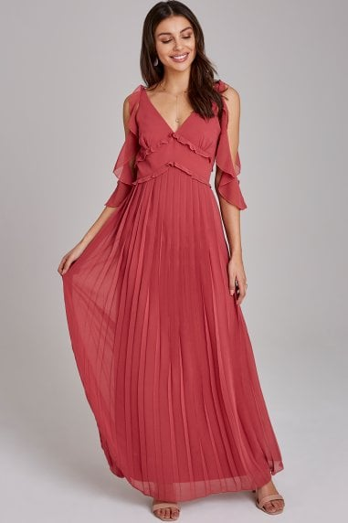 Cassidy Sienna Blush Cold-Shoulder Maxi Dress