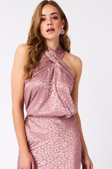 Maple Pink Leopard Satin Halterneck Top Co-ord