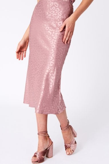 Maple Pink Leopard Satin Slip Skirt Co-ord