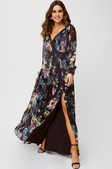 Lea Floral-Print Mock Wrap Maxi Dress