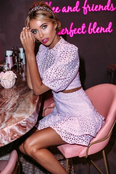 Daisy Lilac Lace Cut-Out Mini Dress