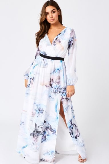 Lea Blur-Print Mock Wrap Maxi Dress