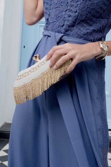 Gold Diamanté and Pearl Clutch Bag
