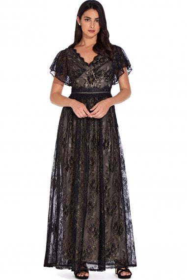 Black Gold Metallic Lace Maxi Dress