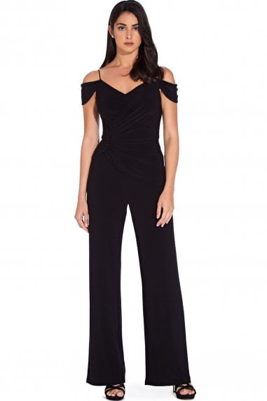 Black Shirred Wrap Jumpsuit