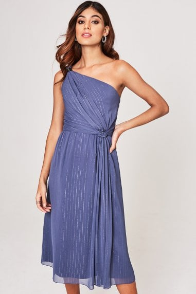 Anaïs Lavender Grey Ring Detail Midi Dress