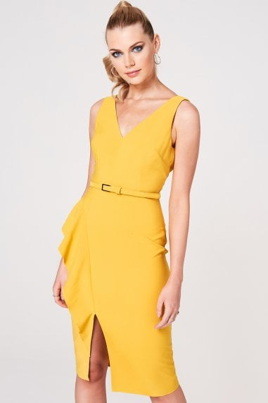 Noe Mustard Frill Belted Pencil Dress