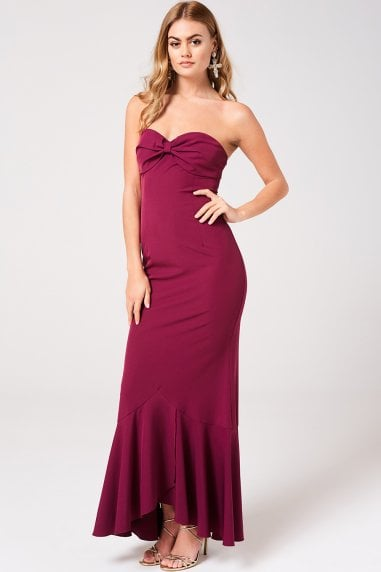 Nikki Mulberry Bow Bandeau Maxi Dress