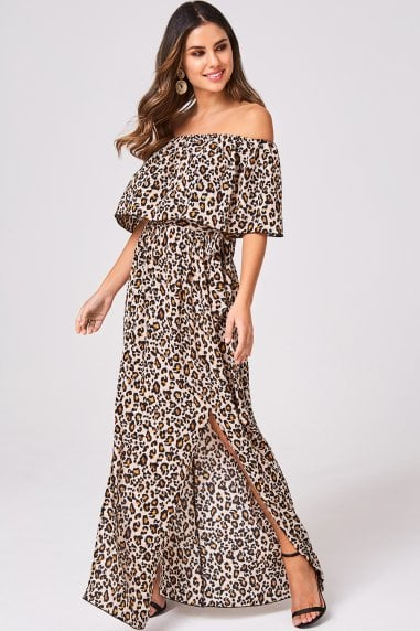 Faithful Leopard Off-The-Shoulder Maxi Dress
