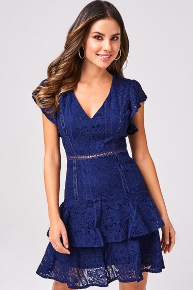 Sensation Navy Lace Frill Mini Dress