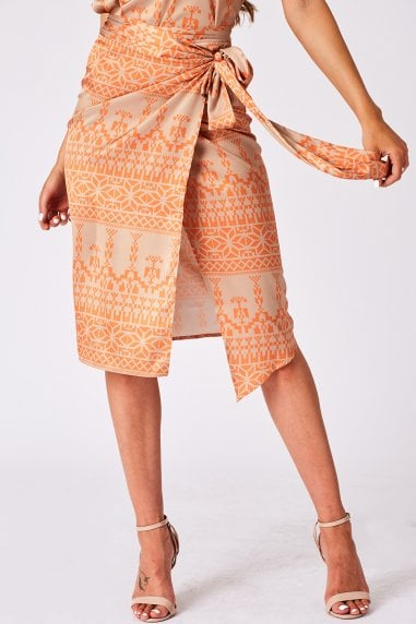Orange & Beige Abstract-Print Wrap Skirt