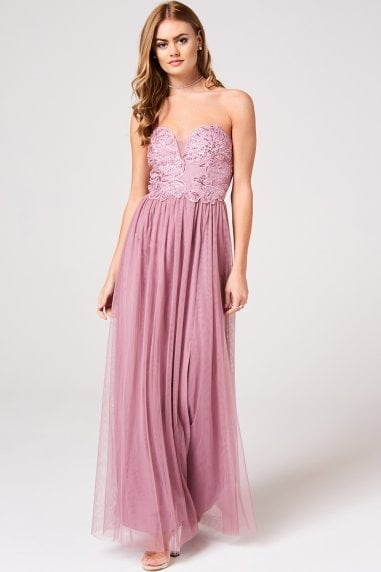 bea342d7964 Phoebe Canyon Rose Floral Hand-Embellished Bandeau Maxi Dress Phoebe Canyon  Rose Floral Hand-Embellished Bandeau Maxi Dress · Little Mistress ...