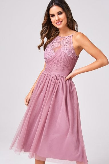 Phoebe Canyon Rose Floral Hand-Embellished Prom Midi Dress