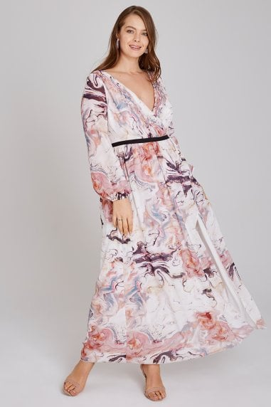 Lea Mock Wrap Marble Maxi Dress