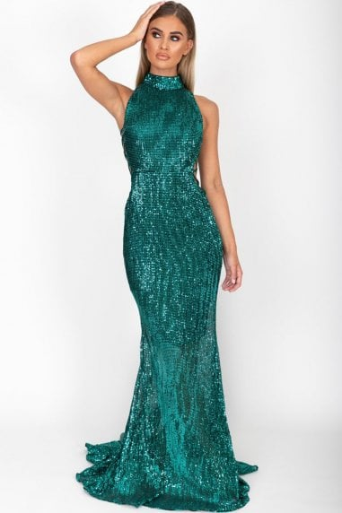 Bella Emerald Green Long Gown