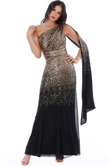 Black & Gold One Shoulder Sequin & Chiffon Maxi Dress