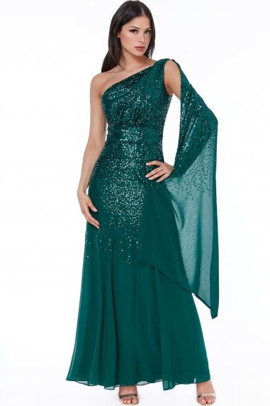 Emerald One Shoulder Sequin & Chiffon Maxi Dress
