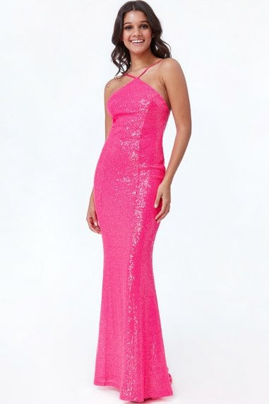 Cerise Low Back Sequin Halter Maxi Dress