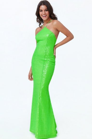 Lime Low Back Sequin Halter Maxi Dress