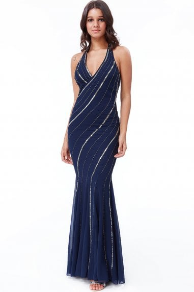 Navy Sequin Halter Neck Maxi Dress