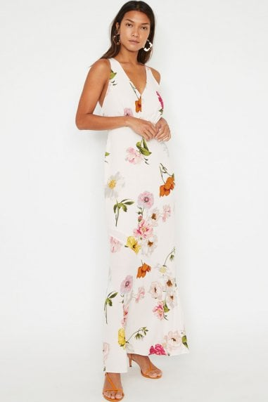 Multi Floral Open Back Maxi Dress
