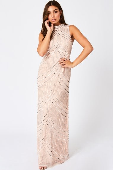 Blush Sleeveless Embellished High Neck Maxi Dress