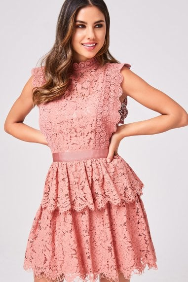 Ida Terracotta Tiered-Lace Dress