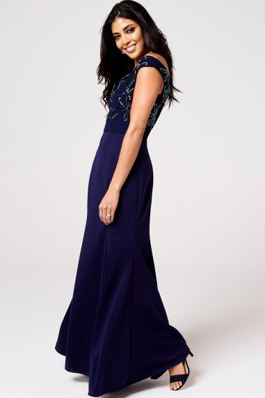 Meleri Navy Floral Embroidery Off-The-Shoulder Maxi Dress