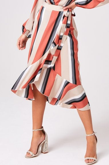 Transit Terracotta Stripe Frill Wrap Skirt Co-ord
