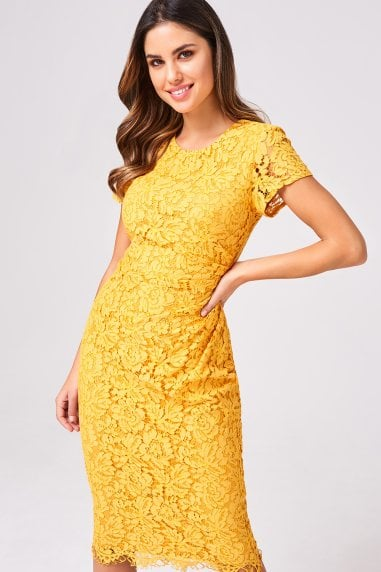 Shana Mustard Lace Bodycon Dress