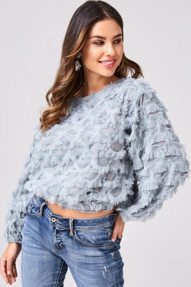 Sade Duck Egg Fringe Top
