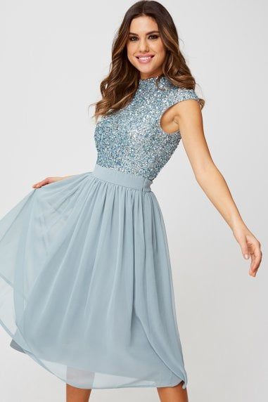 Luxury Michelle Cornflower Hand-Embellished Sequin Top Midi Dress